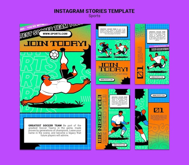 鮮やかなイラストサッカーテンプレートinstagramストーリー