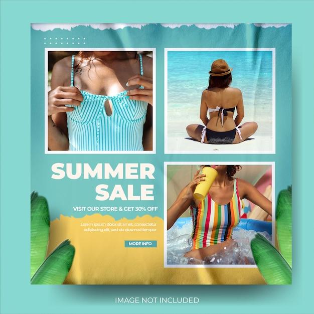 활기찬 현대 패션 여름 세일 포스트 피드