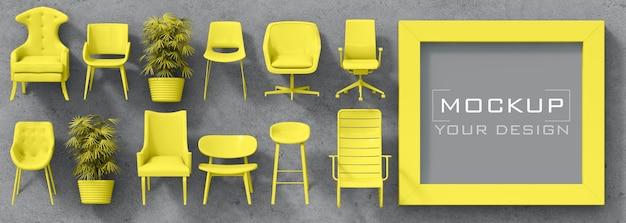 家具と鉢植えのコンクリートの壁に鮮やかな黄色のフレームのモックアップ