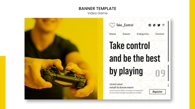 Video game banner template style