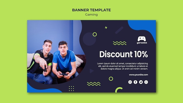 Video game banner template with photo