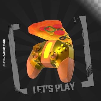 Видеоигры развлечения квадратный баннер. 3d иллюстрация