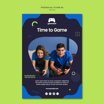 Video game flyer template with photo