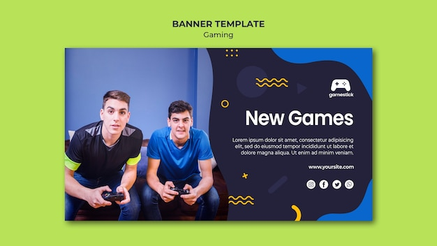 Video game horizontal banner template with photo