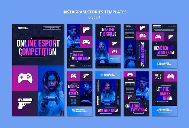 Video game player instagram stories template Free Psd