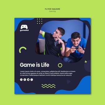 Video game square flyer template with photo