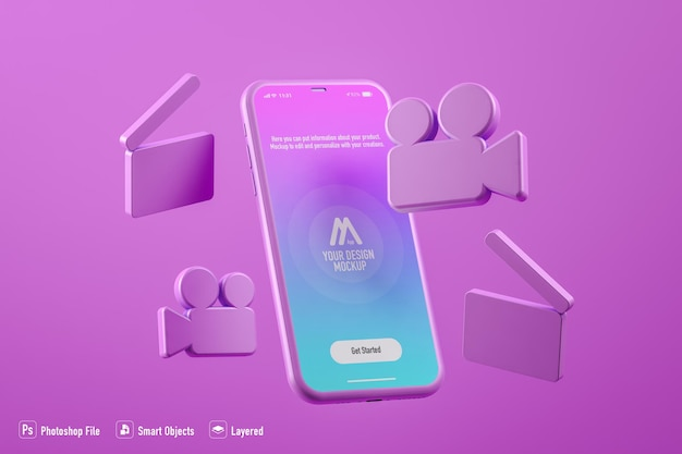 Video mobile application mockup isolated on fuchsia background Premium Psd
