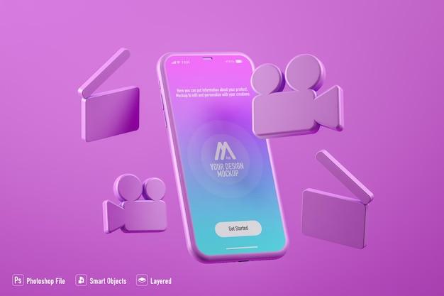 Видео макет мобильного приложения, изолированные на фоне фуксии