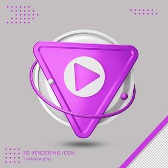 3dレンダリングのビデオ再生ボタンアイコン