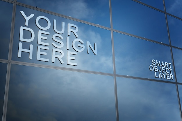 View of a 3d sign on building window mockup