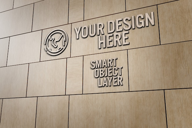 View of a 3d sign on wooden wall mockup