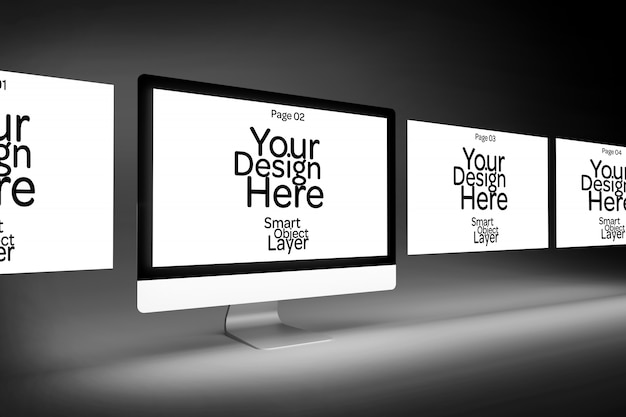 View of a 4 web pages on a desktop computer mockup