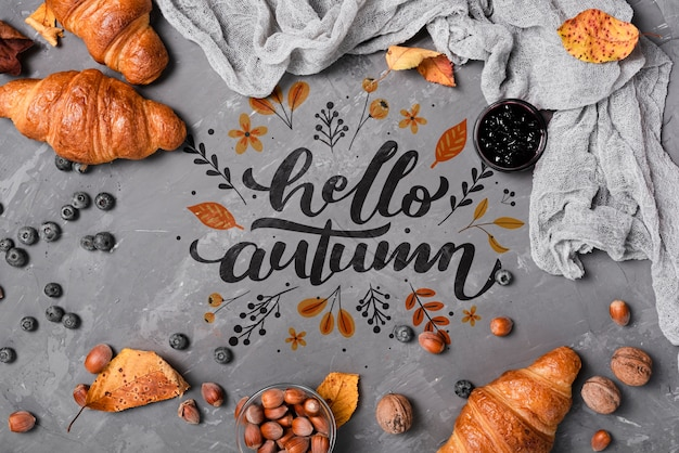Above view autumn breakfast on stucco background