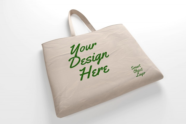 View of a beige canvas tote bag mockup