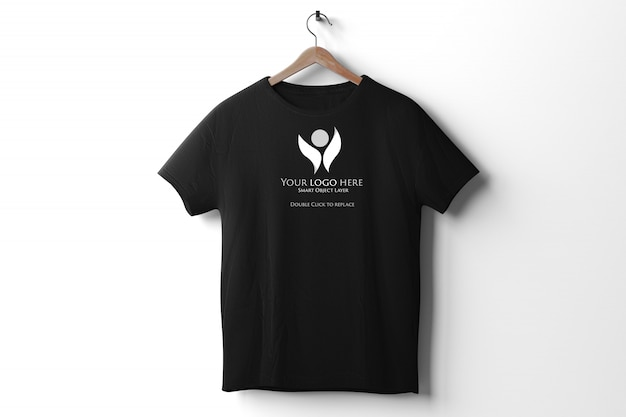 View of a black t-shirt mockup