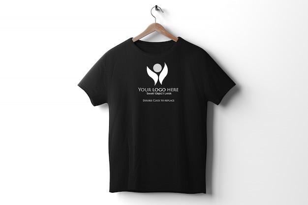 View of a black t-shirt mockup
