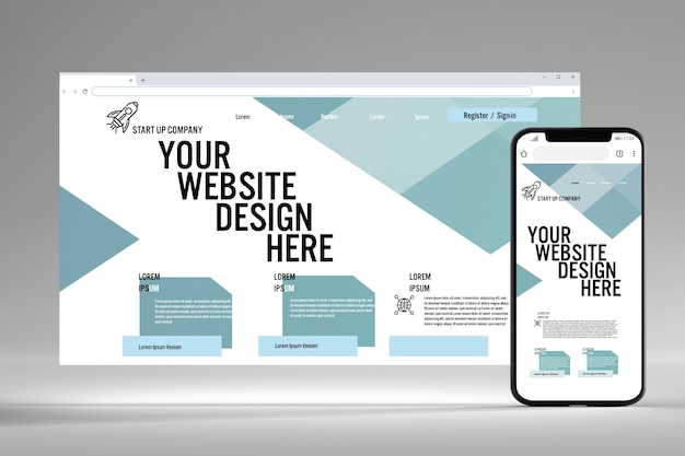 View of a browser and mobile screen mock up