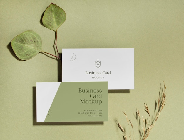 Above view business cards with leaves