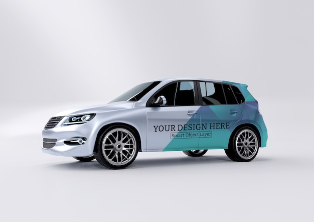 View of a car wrap mockup