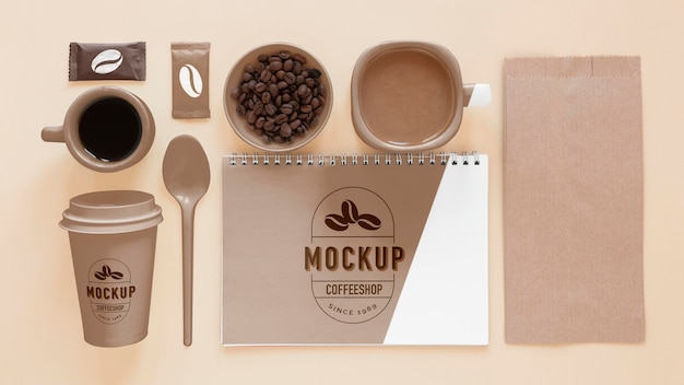 Above view coffee branding elements