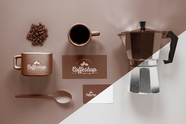 Above view coffee branding items arrangement