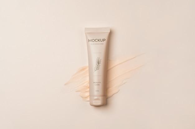 Vista sopra la confezione del prodotto cosmetico