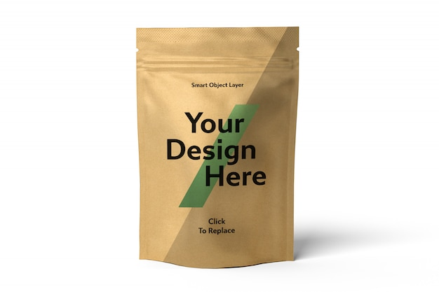 View of a craft foil bag mockup
