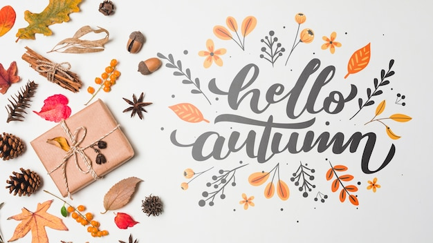 Above view decoration with autumn leaves