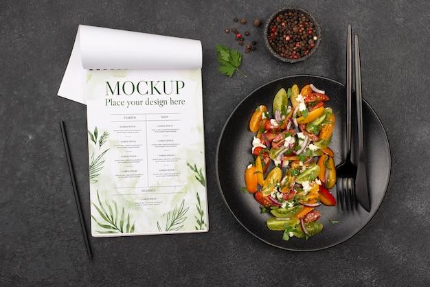 Above view delicious healthy salad mock-up