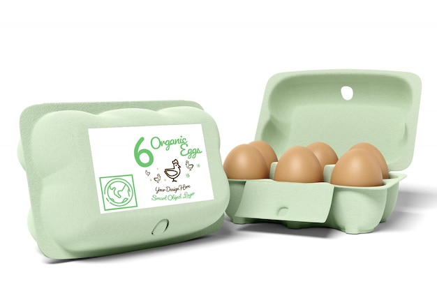 View of a egg carton packaging design mockup