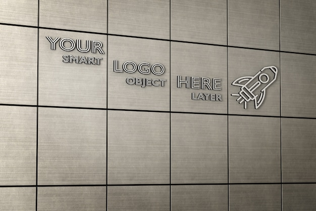 View fo a 3d sign on metal tiled wall mockup