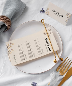 Above view golden cutlery, and plate
