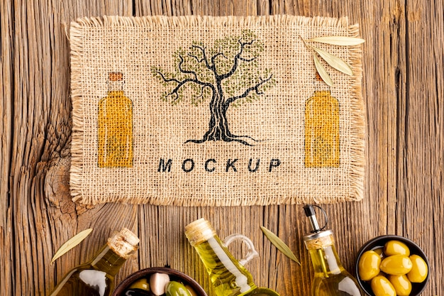 To view gourmet olive oil with mock-up