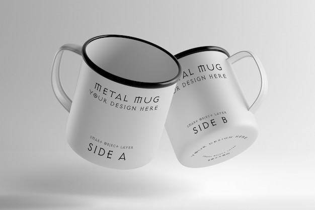 View of a metal mug mockup