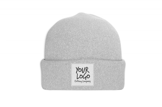 View of a mockup of a beanie with label