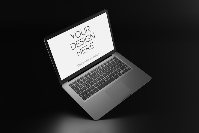 View of a mockup of laptop screen