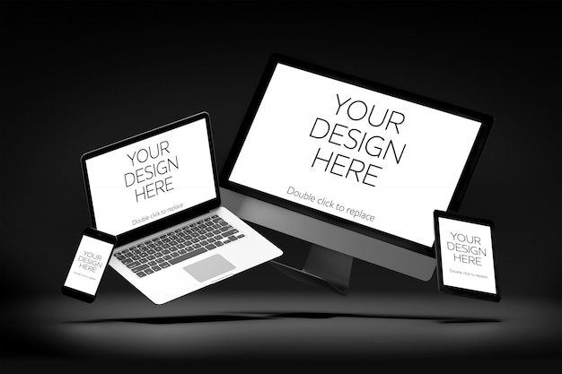 View of a mockup of smartphone, tablet, desktop computer, and laptop