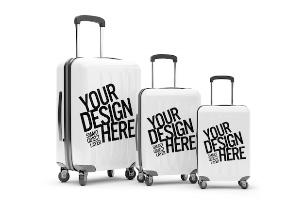 View of a mockup of travel suitcases