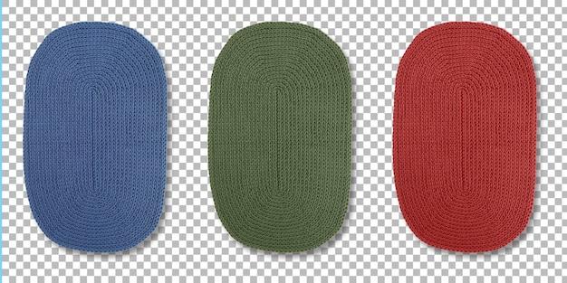 透明で隔離されたプレートを配置するためのセット色の楕円形マットのビュー。