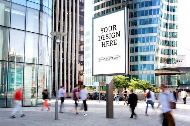 View of a outdoor advertisement mockup