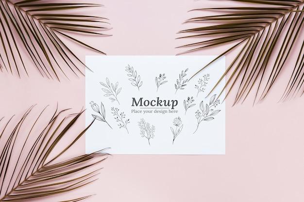 Sopra vista mock-up disposizione piante
