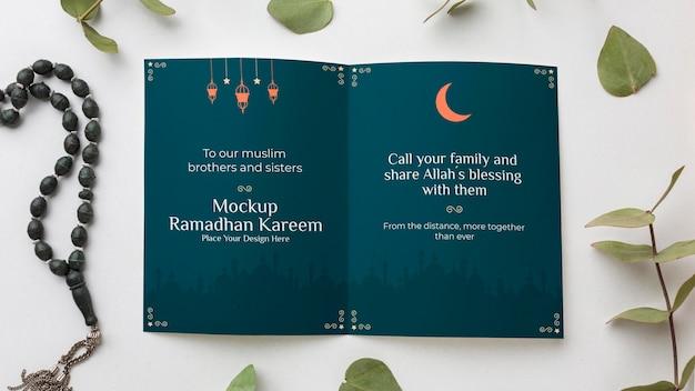 Above view ramadan kareem mockup