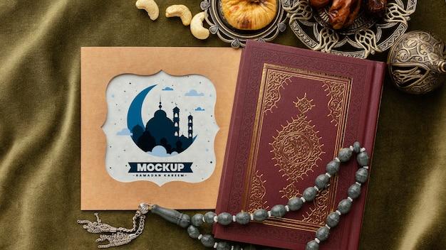 Mockup di stampa ramadan sopra vista