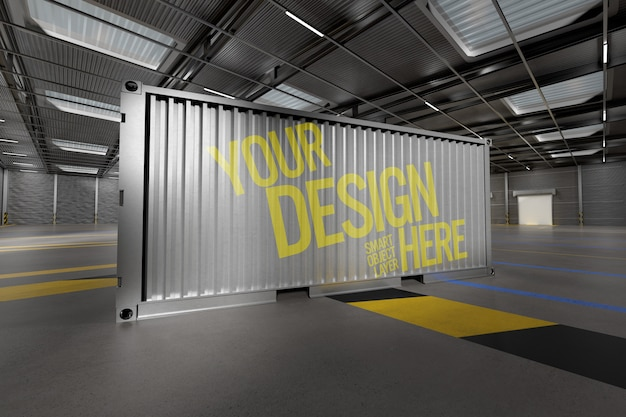 View of a shipping container mockup