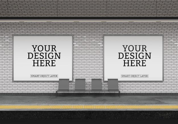 View of a subway billboard mockup