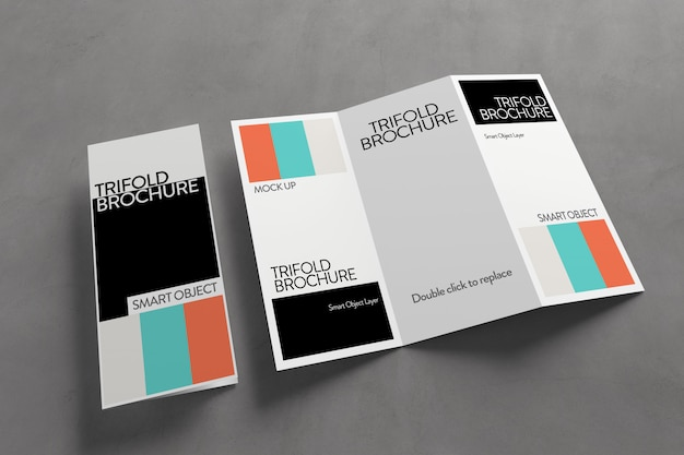 View of a trifold brochure mockup