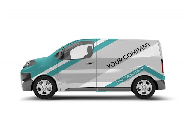 View of a van wrap mockup
