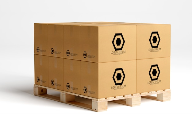 View of a warehouse cardboard box mockup