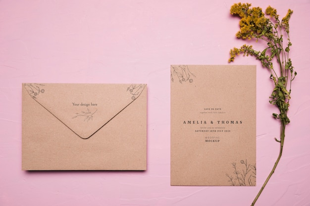 Above view wedding invitation mock-up