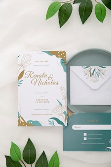 Above view wedding invitation with leaves